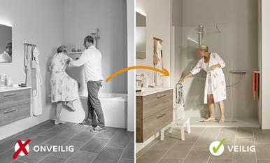 Een Veilige Badkamer : Molenaar; oplossing voor ongelukken in badkamer seniorenwijzer
